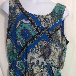 NEW Women Plus Blair Sz 24W 3X Blue Gold Dress